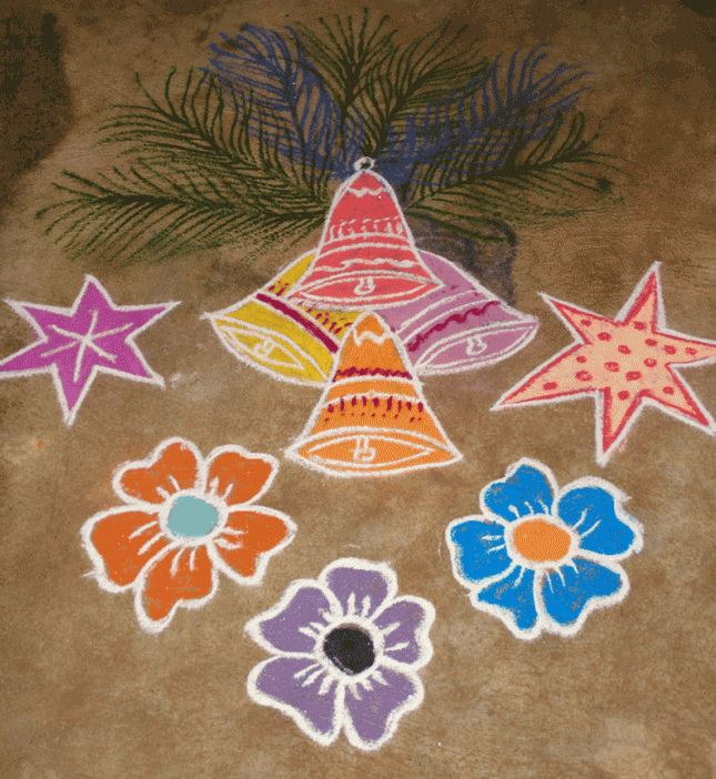 beautiful-chrustmas-rangoli-design-with-bells