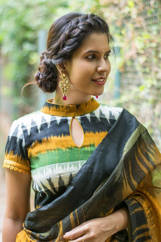 Multicolour Ikat high neck blouse design