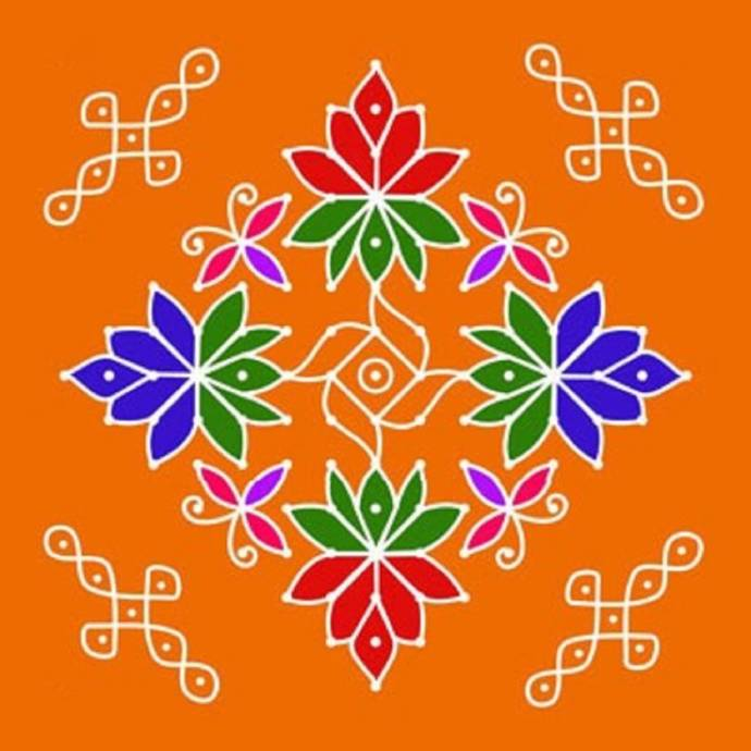 Freehand Rangoli With Designs And Dots