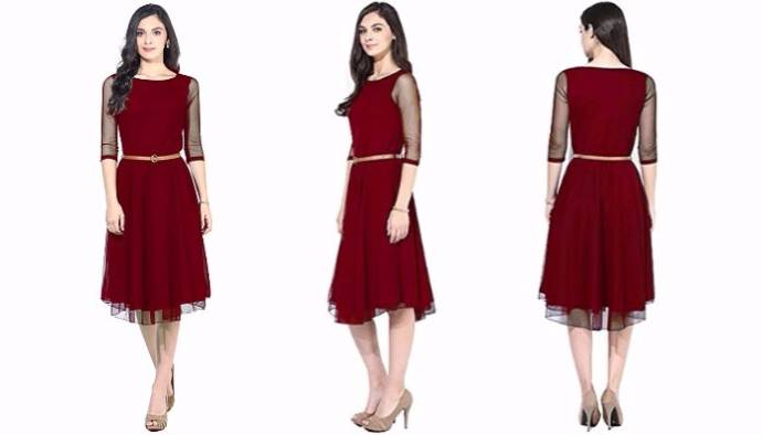 Designer maroon dress for women