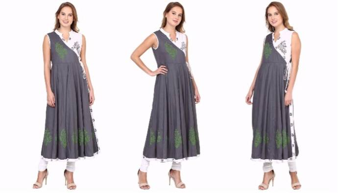Gray and white angrakha kurti with handblock print for women
