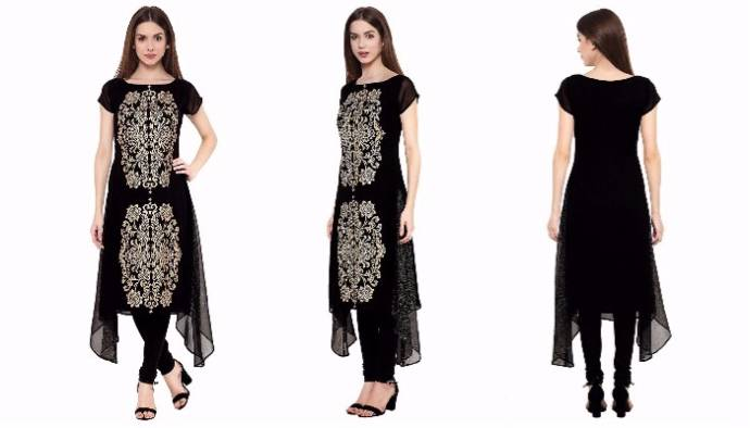 Stylish black color georgette kurta for women