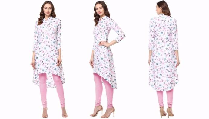White printed polyester crepe asymmetric kurti for women