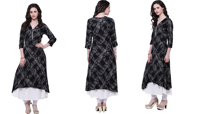 Women's black and white double layered kurta