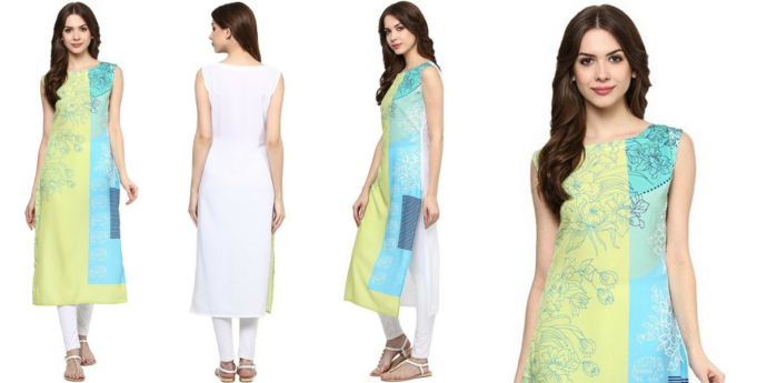 Women's yellow and sky blue long straight kurti