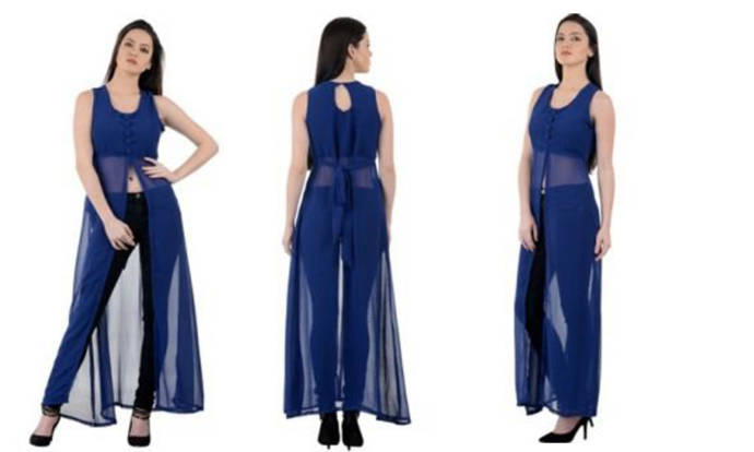 Women's blue color long slit