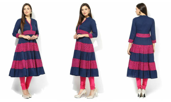 womens-blue-stitched-cotton-anarkali-kurti