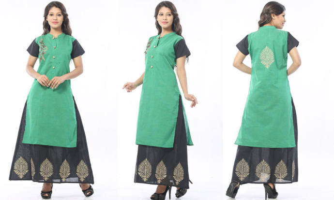 womens-cotton-double-layered-kurti-with-one-side-embroidery-work