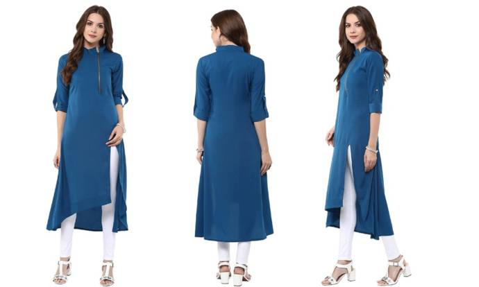 Women's dark blue casual solid kurti