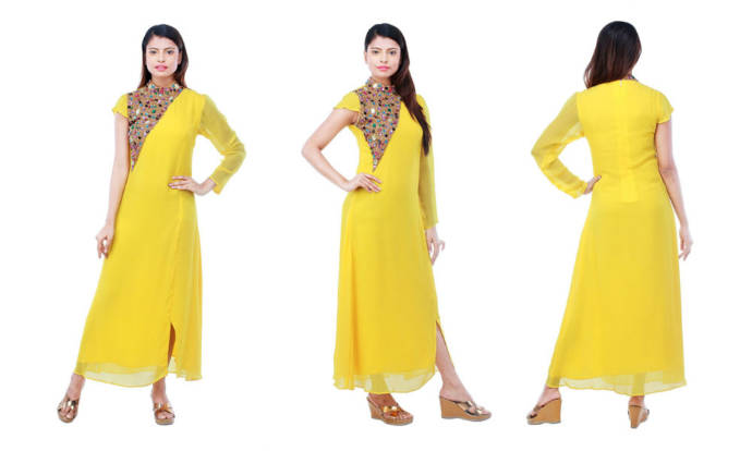 womens-embroidered-yellow-color-viscose-designer-long-kurti