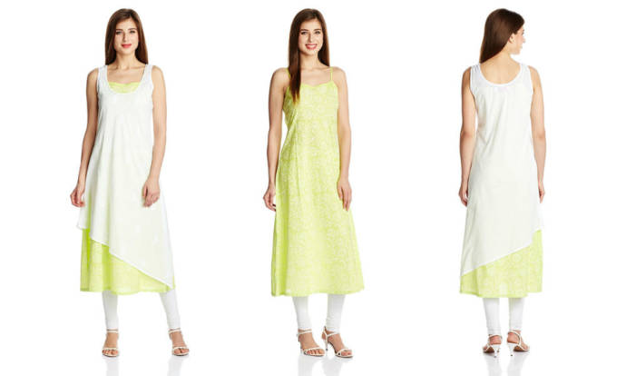 womens-green-and-white-color-asymmetrical-hemline-kurta-with-round-neck