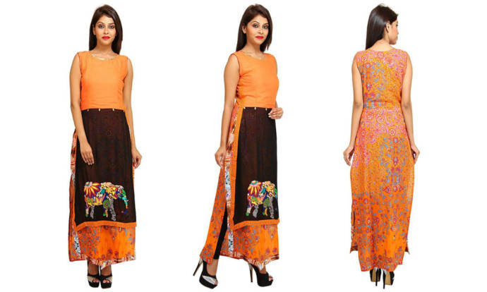 womens-multi-coloured-chiffon-double-layered-kurti