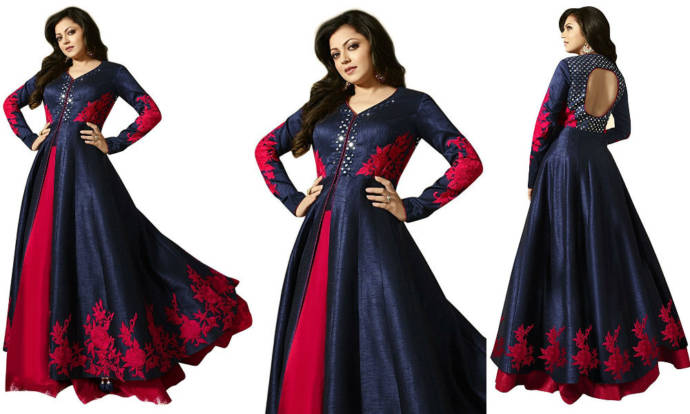 Women's party wear blue and pink color silk gown