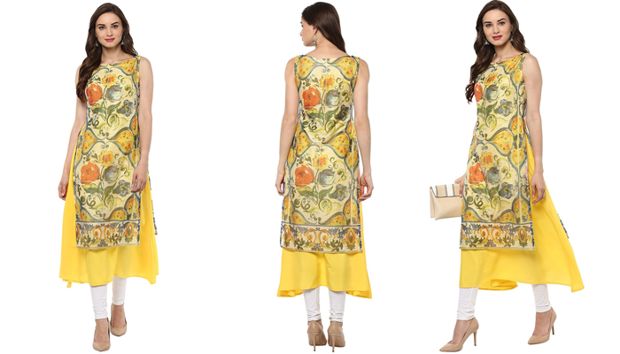 Women's yellow color double layered casual kurta