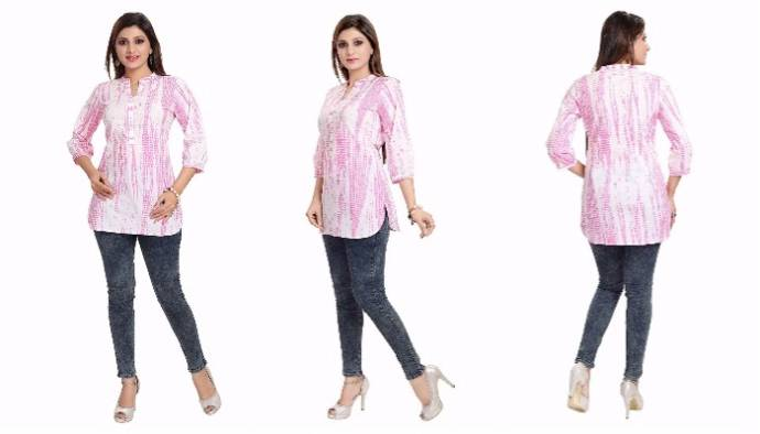 womens-pink-cotton-short-kurta