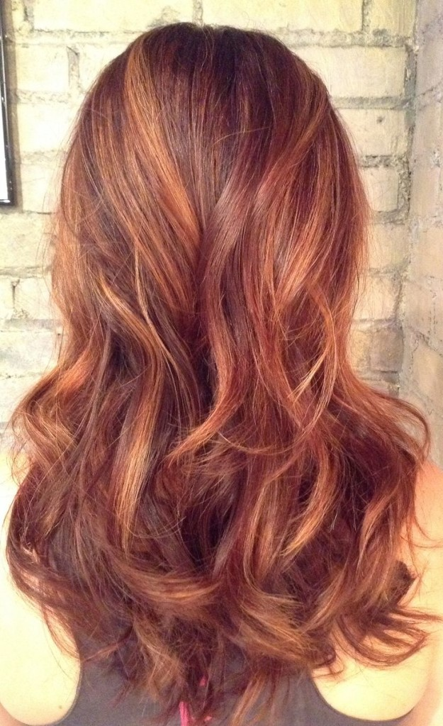 Auburn balayage for long hairs