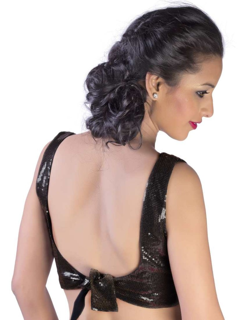 "Backless blouse with ""U"" back neck and waist strap knot"