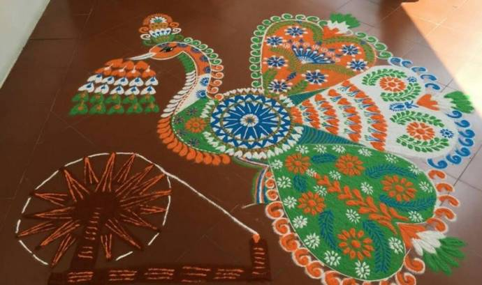 Big rangoli with enhanced designs