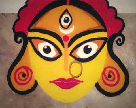 Big rangoli with face of Durga