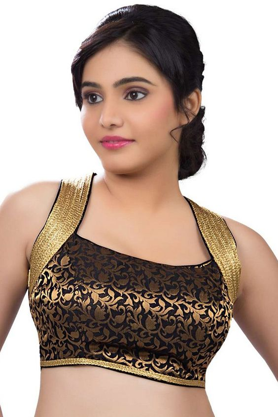 Black and gold brocade blouse with halter neck