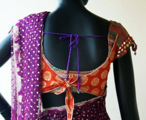 Blouse back design with cut work and knot2