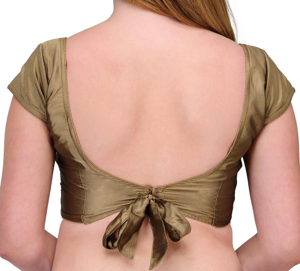 Blouse back design with single top knot and stone latkans