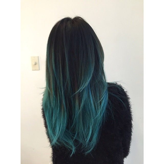 Blue balayage on black hairs