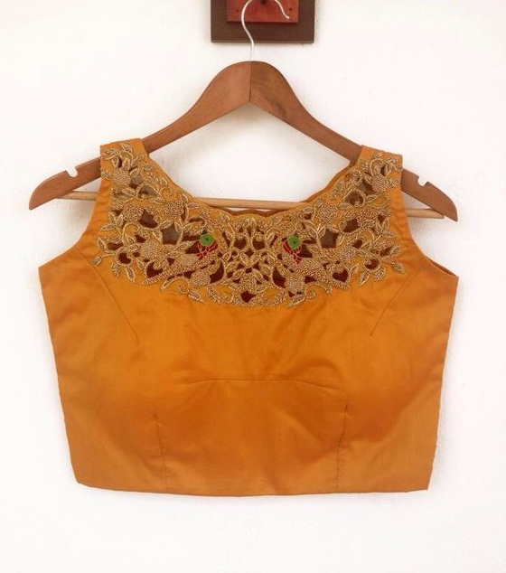 Boat neck blouse design with cutwork