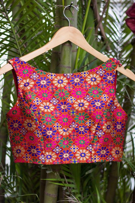 Boat neck blouse design with multicolor floral thread work
