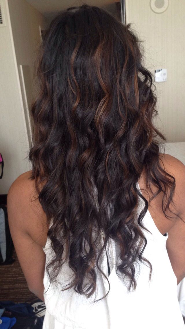 Brown Balayage On Black Hairs