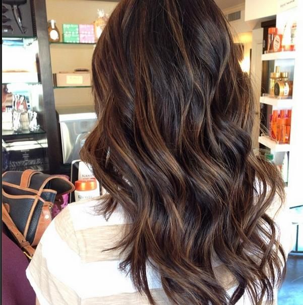 Brunette balayage on long dark hair