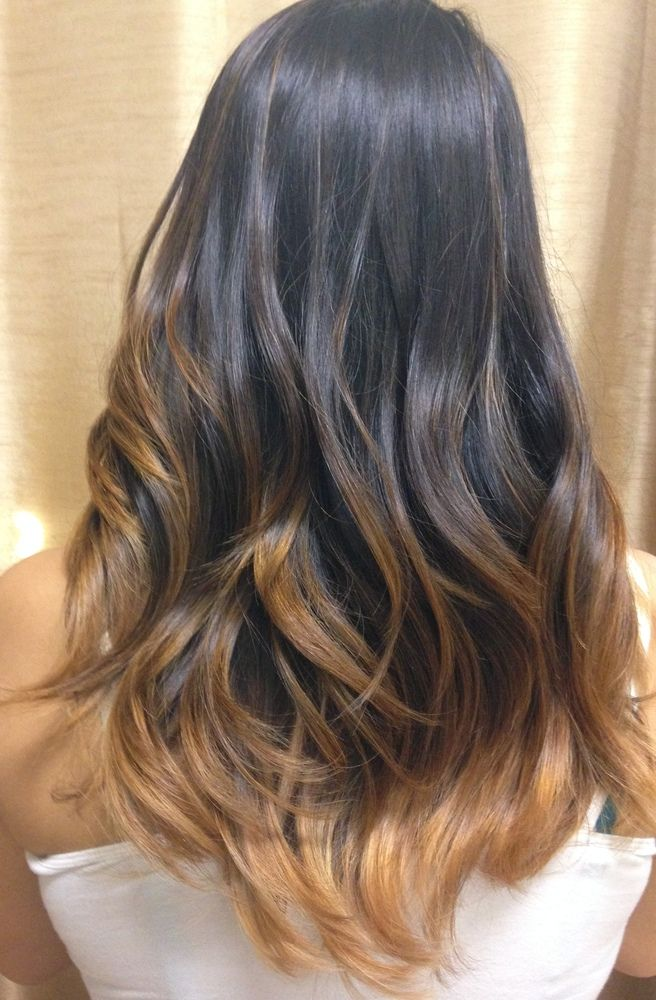 Brunette ombrebalayage for dark hairs