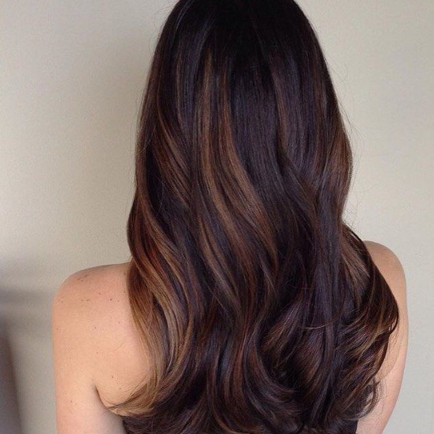 Caramel Balayage on black hair