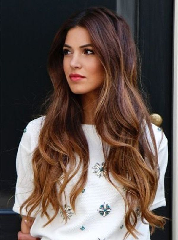 Caramel- brown balayage on long hairs