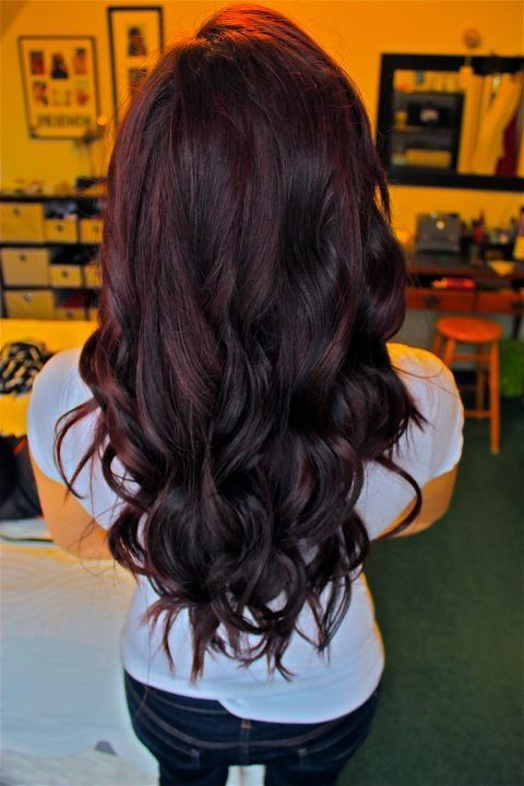 Cherry red balayage on black hairs