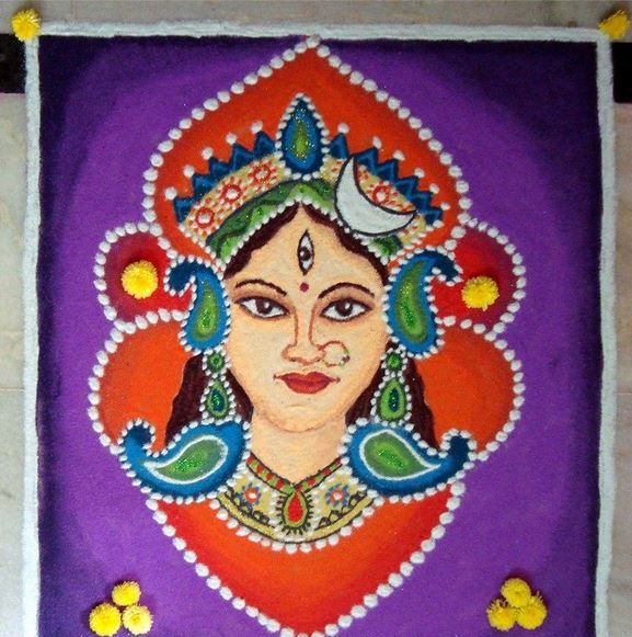 Colorful Durga face rangoli