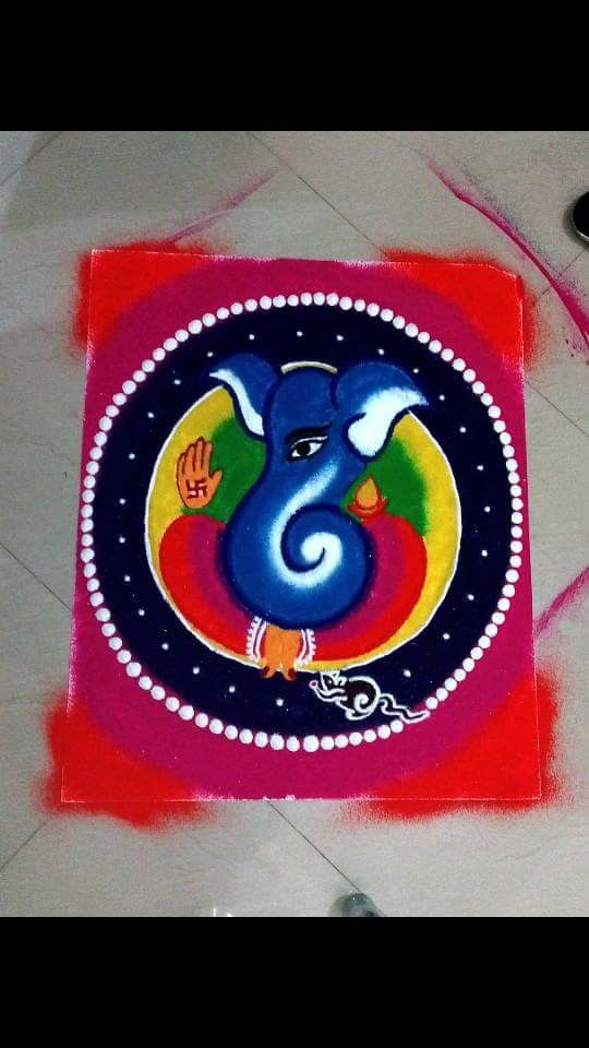 Colorful Ganesha pattern on white board