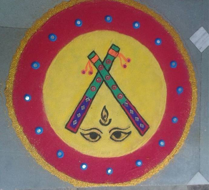 Dandiya rangoli with Durga Eyes