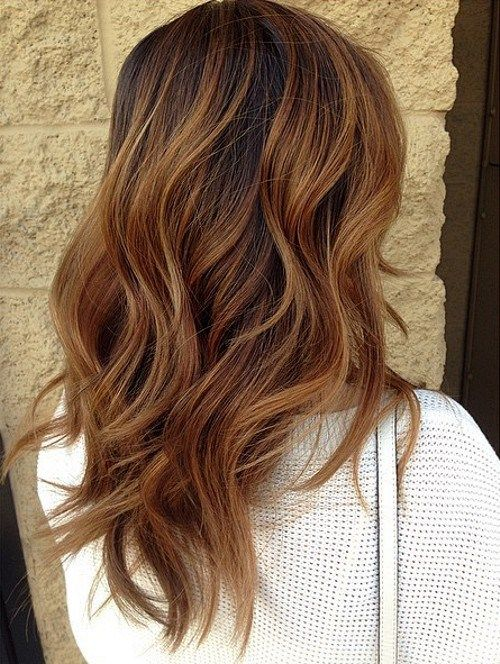 Dark brown hairs with caramel ombre highlights