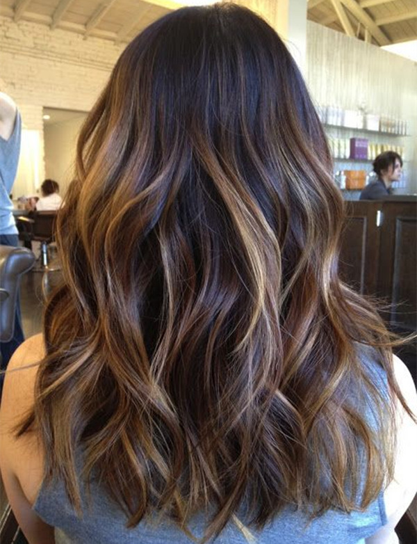 Ombre Hair Brown To Caramel To Blonde Medium Length Balayage hairst...