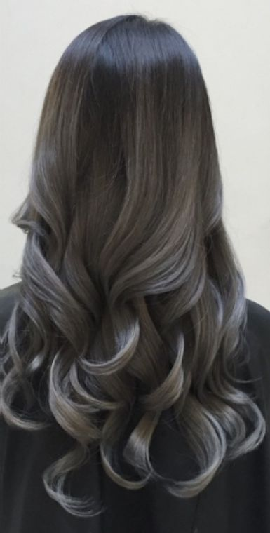 Dark grey balayage on black hairs
