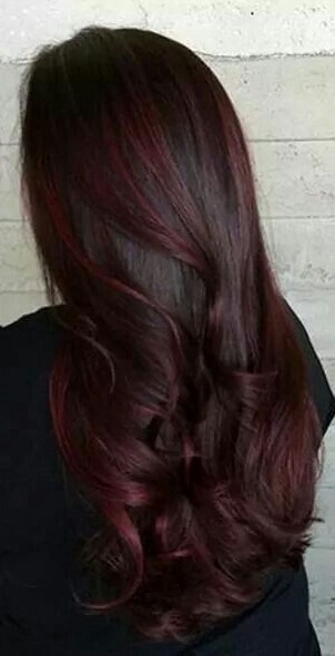 Dark grey with plum highlights