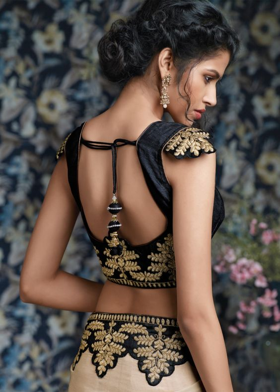 Designer black blouse with golden embroidery
