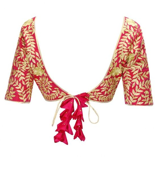 Designer choli pattern blouse with tassels