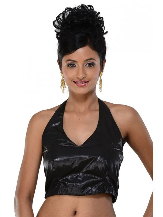 Designer halter neck blouse in black