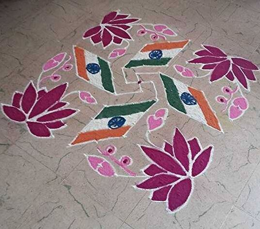 Dotted rangoli with floral patterns
