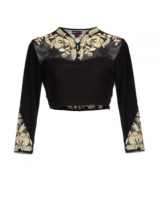 Embroidered full sleeve blouse design with net
