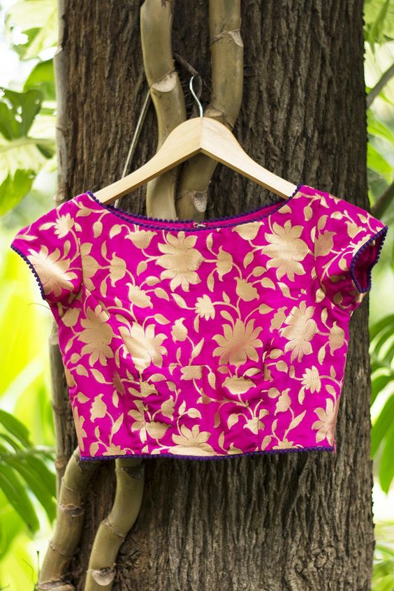 Fuchsia pink brocade blouse with boat neck