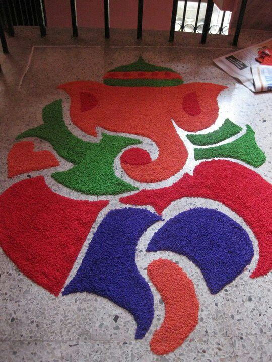 Full and big Ganeshji rangoli with different colors