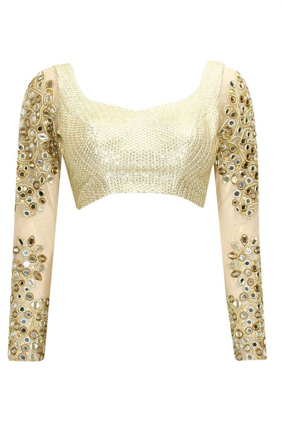 Full sleeve white designer blouse with mirror work